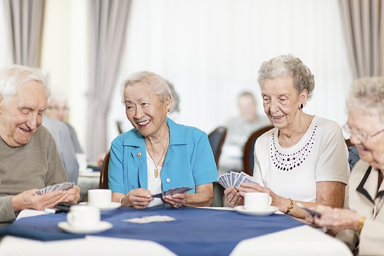Group of seniors playing cards in a retirement home.